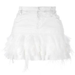 Faith Connexion White Denim Ruffled Mini Skirt